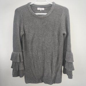 Calvin Klein Gray Tiered Ruffle Sleeve Sweater